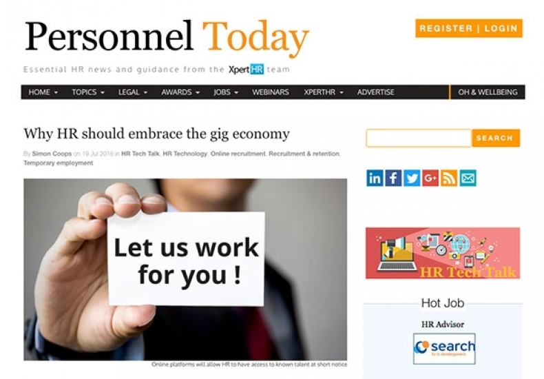 Media: Personnel Today - Why HR should embrace the gig economy