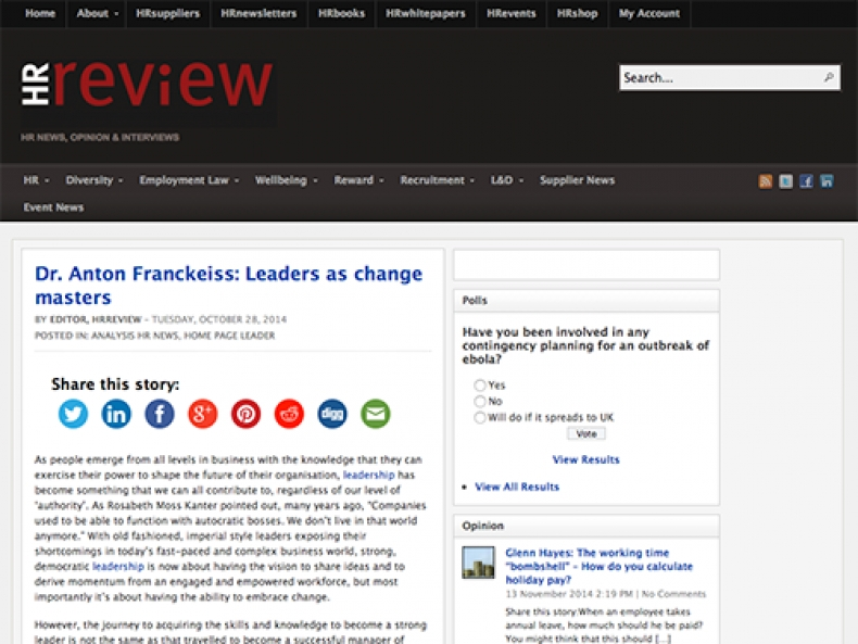 Media: HR Review - Leaders as change masters